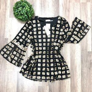 Calvin Klein Black & Gold Blouse Size Small
